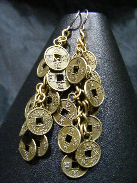 oriental coin earrings in brass