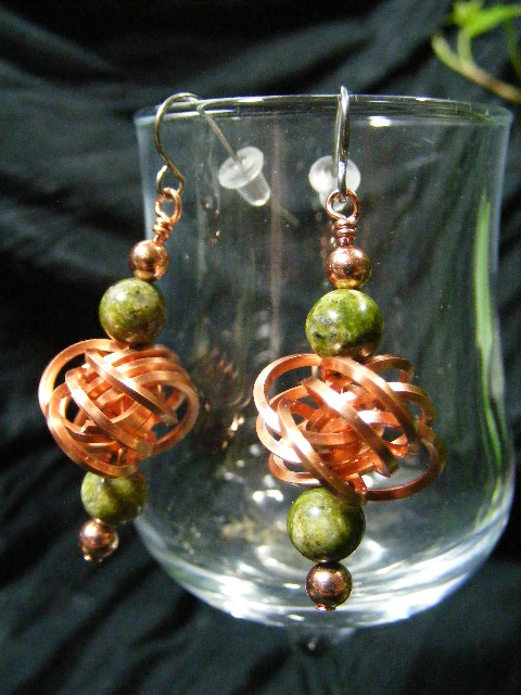 copper love knot with unakite earrings
