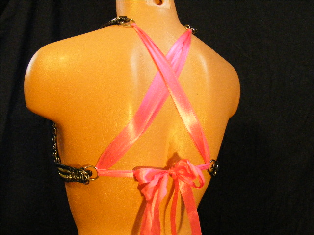 custom pink silver and stretchy bra 5