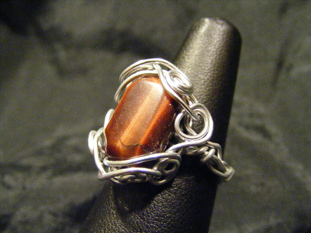 free form silver and red tiger eye