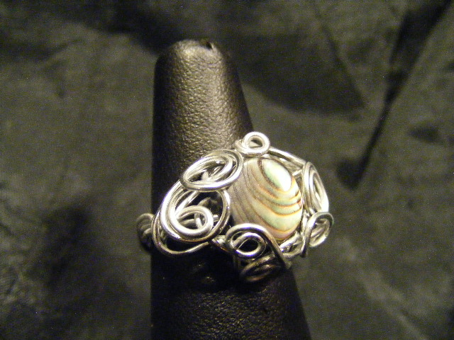 freeform wire abalone ring