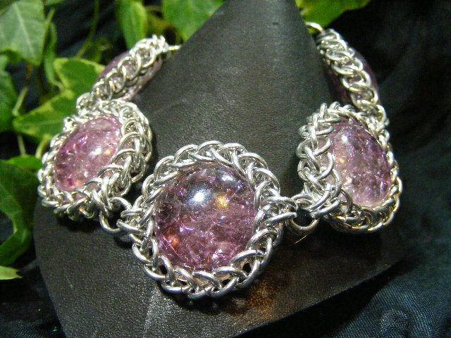 fried glass in purple and silver