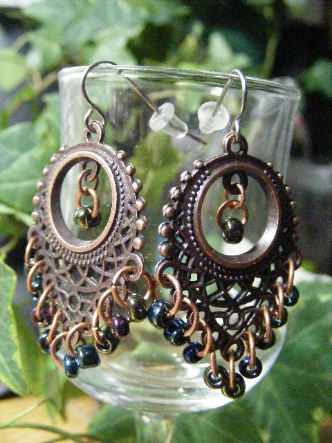 fringe earrings copper and iris