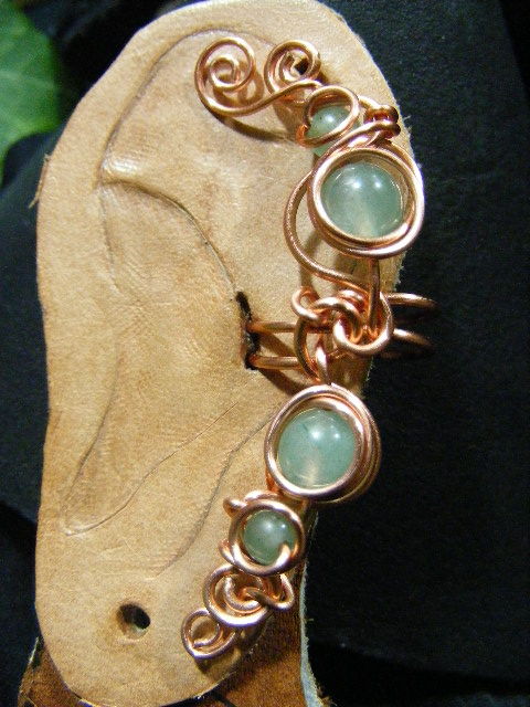 green avneturine and copper ear cuff
