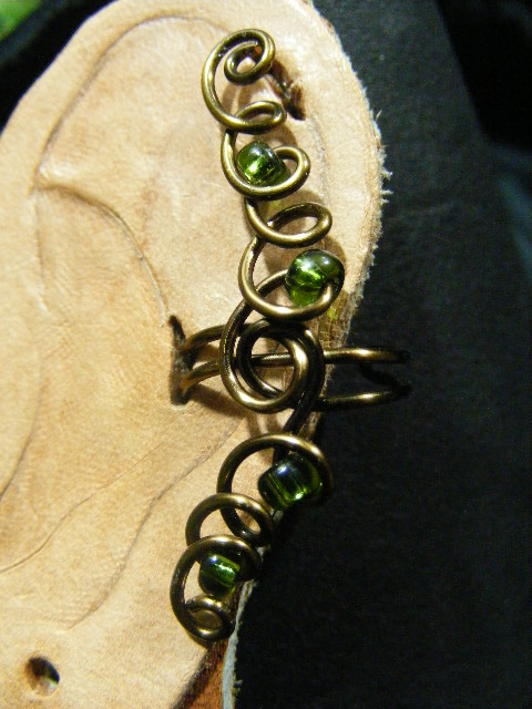 green glass and bronze ear cuff