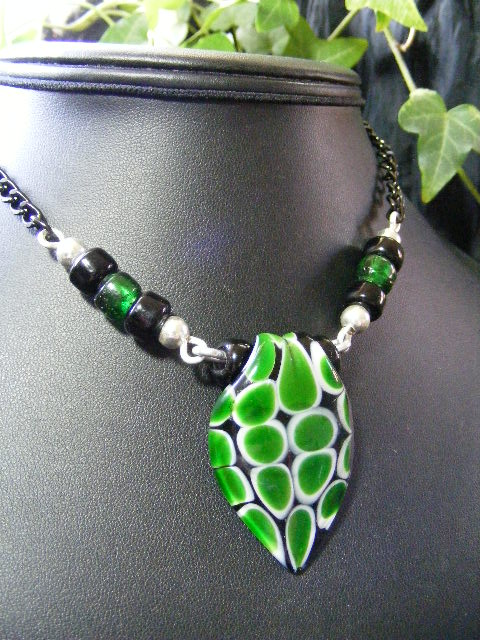 green lampwork necklace