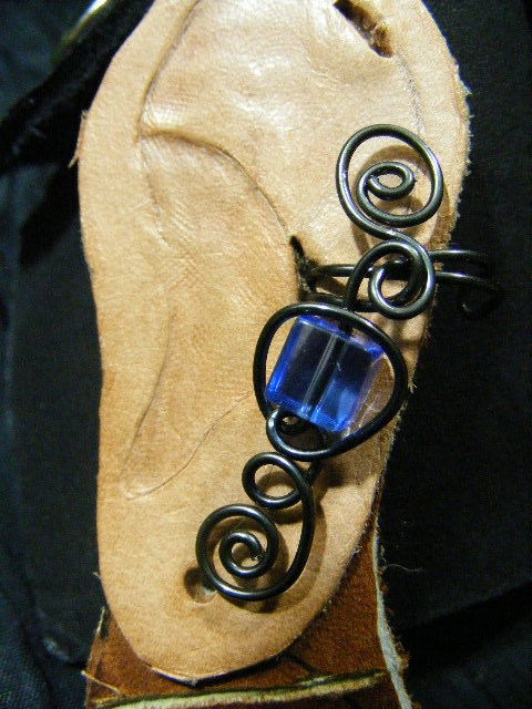hematite and blue cube ear cuff 2