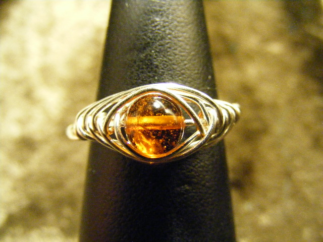 herring bone amber ring in silver