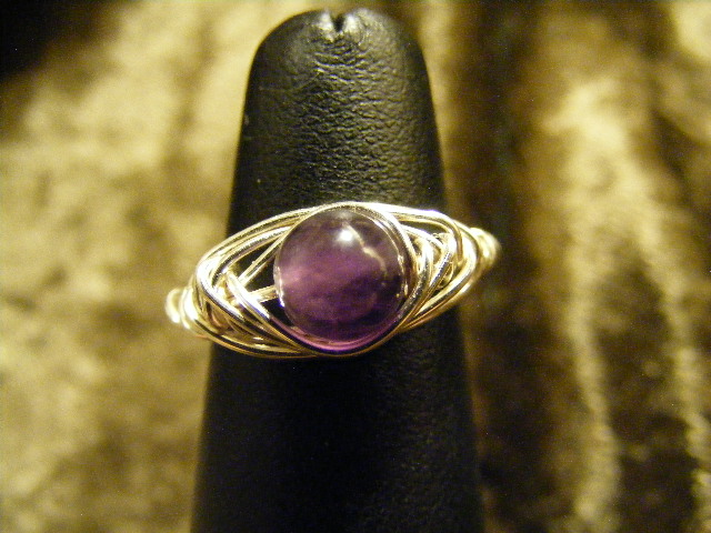 herring bone amethyst ring in silver