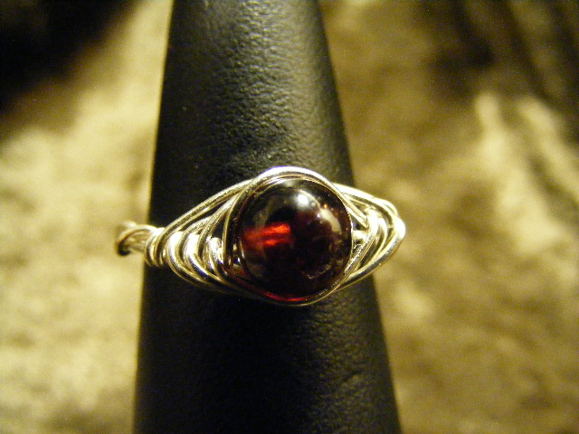 herring bone garnet ring in silver