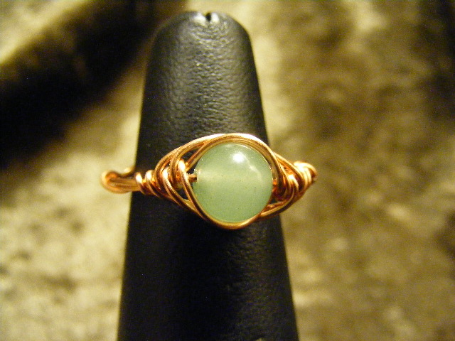 herring bone green aventurine ring