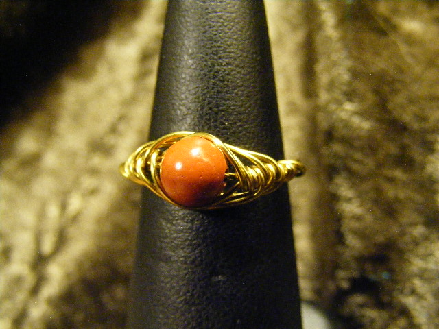 herring bone red jasper ring in brass