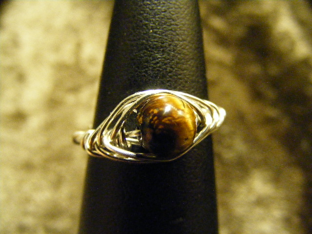 herring bone tigers eye ring in silver