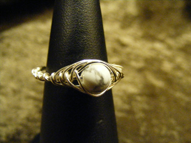 herringbone howlite ring
