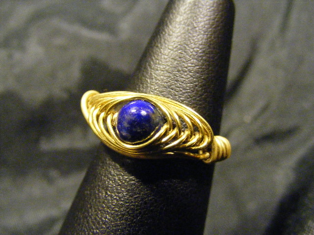 herringbone ring lapis and brass