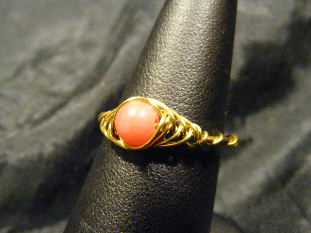 herringbone ring rhodonite and brass