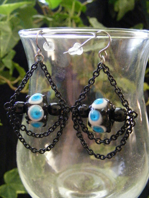lampwork drape earrings