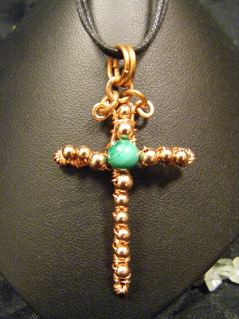 malachite and copper cross