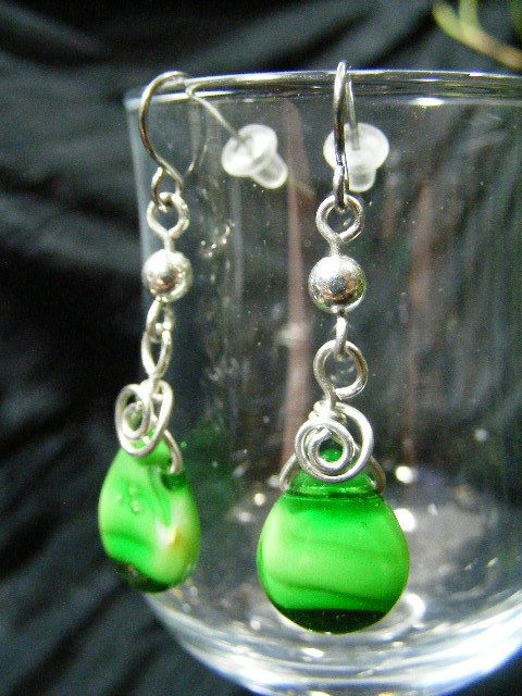 milky green tear drop earrings