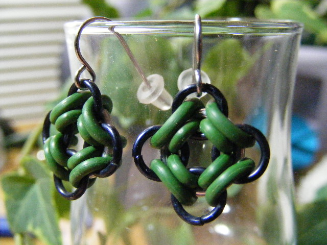 ojo de dios earrings green