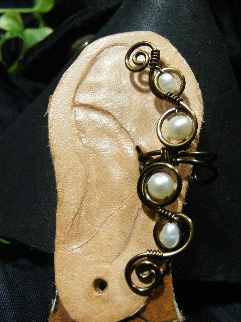 pearl and bronze ear cuff 2
