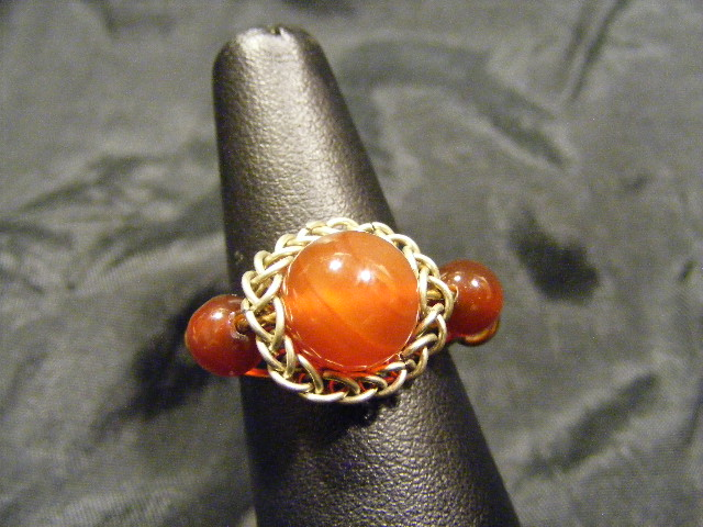 persian sphere carnelian multi bead ring