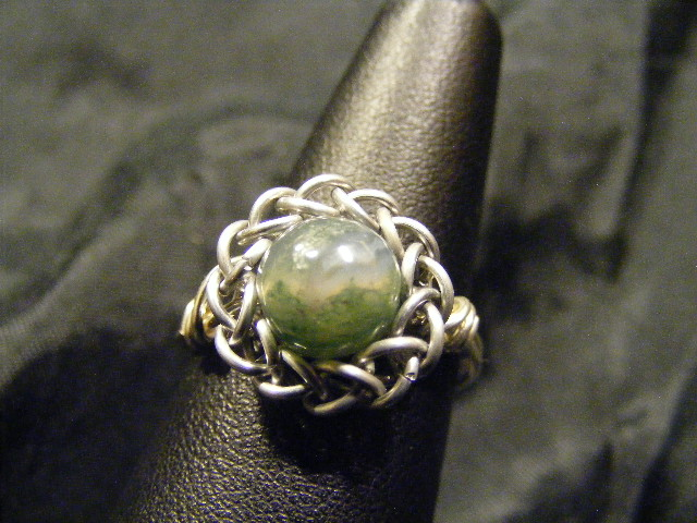 persian sphere moss agate ring