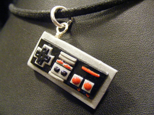 polymer clay nes controller pendant