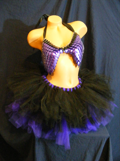 purple scale top with black and purple tutu