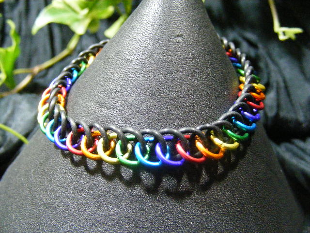 rainbow half persian stretchy bracelet