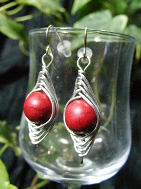 red corral herringbone earrings