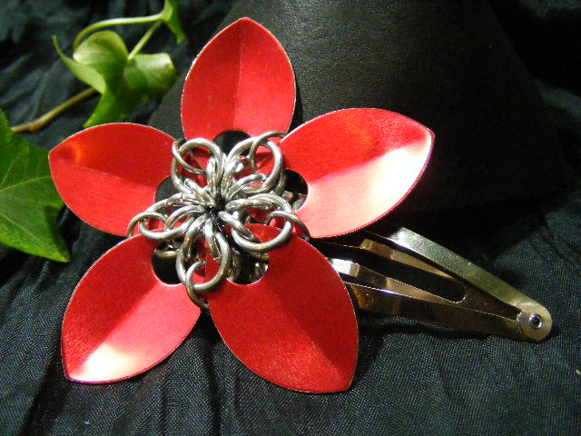 red large scale hair flower