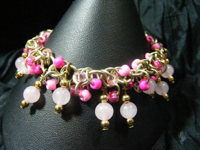 rose quartz shaggy loops bracelet
