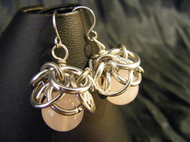 rose quartz helmcap earrings