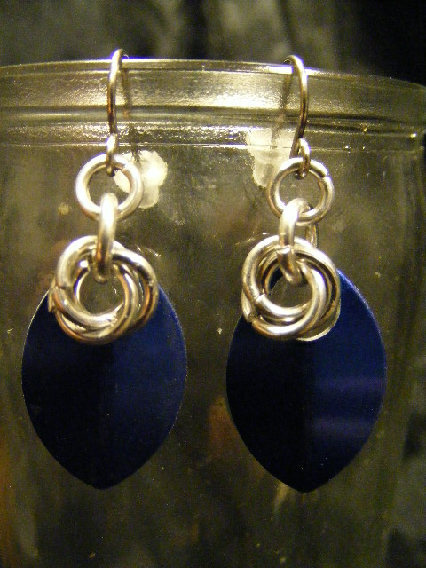 scale earrings blue