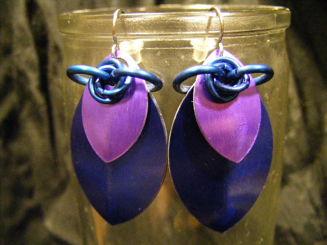 scale earrings blue and purple