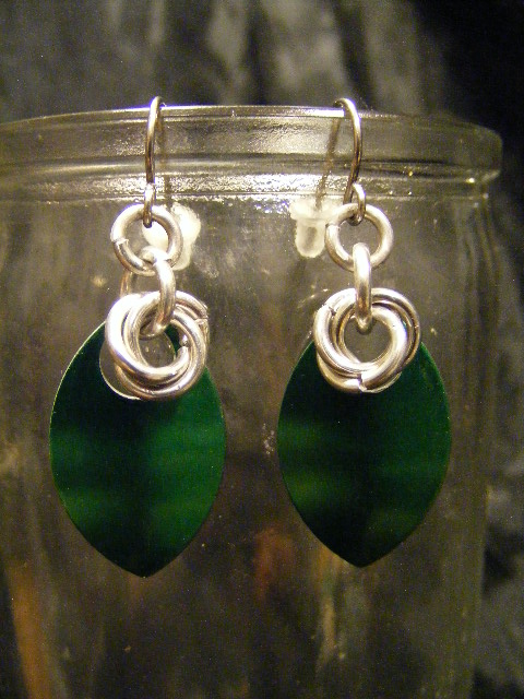 scale earrings green