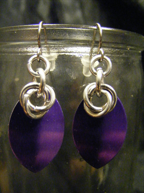 scale earrings purple