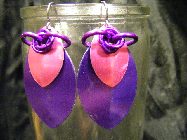 scale earrings purple and pink