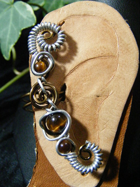 silver coils and tigers eye ear cuff