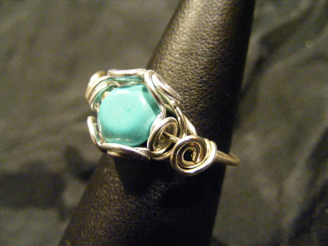 spiral nest turquoise ring
