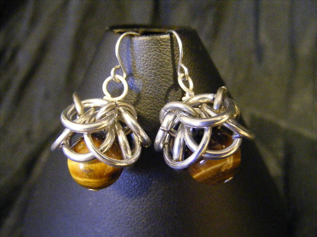 tigers eye helmcap earrings